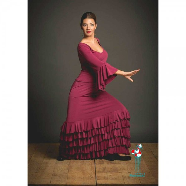 Falda flamenca de baile flamenco de uso profesional y ensayo. Modelo Monroy granate