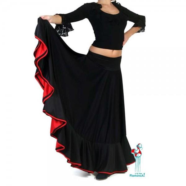 Falda flamenca de baile flamenco de uso profesional y ensayo. Modelo Balboa