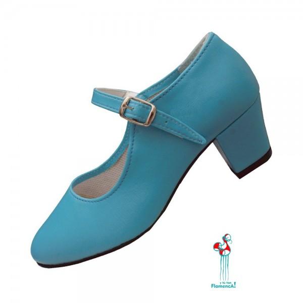 Zapato flamenco turquesa