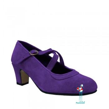 Zapato flamenco amateur lavanda correas cruzadas
