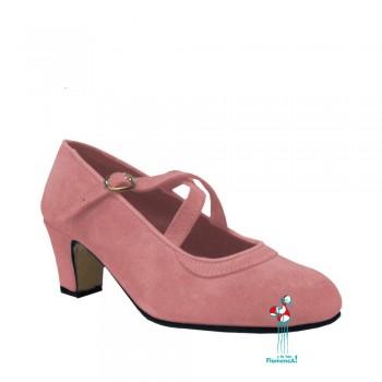 Zapato flamenco amateur rosa correas cruzadas