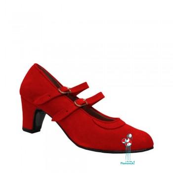 zapato rojo en piel con dos correas paralelas